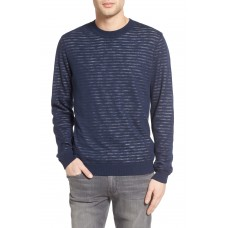 Men Luca Reversible Cotton & Linen Pullover Perfect color comfortable cutting Turbid Stripe Night Sea/ White IEUKYHG