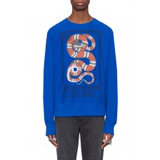 Men Snake Stamp Graphic Crewneck Sweatshirt Perfect color comfortable cutting Electric Blue FPKENXA