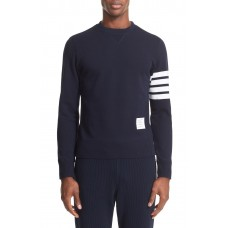 Men Stripe Sleeve Sweatshirt Perfect color comfortable cutting Navy/ Optic White WUKIRIX