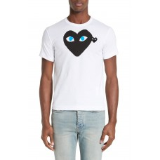 Men Comme des Garçons PLAY Graphic T-Shirt with Heart Appliqué Perfect color comfortable cutting White UTSQVFD