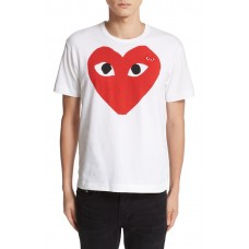 Men Comme des Garçons PLAY Heart Face Graphic T-Shirt Perfect color comfortable cutting White CWNJWIE