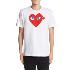 Men Comme des Garçons PLAY Heart Face Graphic T-Shirt Perfect color comfortable cutting White PQUGRCC