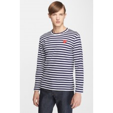 Men Comme des Garçons PLAY Stripe T-Shirt Perfect color comfortable cutting Navy/ White NDZHWBT