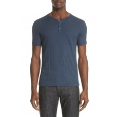 Men John Varvatos Rib Henley T-Shirt Perfect color comfortable cutting Atlantic Blue OYGXFCA