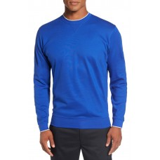 Men 'Walker' Tipped Pima Cotton Long Sleeve T-Shirt Perfect color comfortable cutting Cobalt UGBHCRY