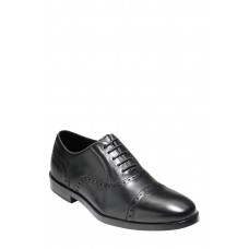 Men 'Hamilton' Cap Toe Oxford LComfortable feet make you a gentleman Black Leather DKGFCWO