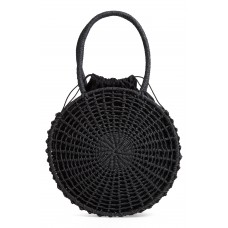 Women Bella Straw Circle Tote Handbag Comfortable and elegant Black RMLKCIZ