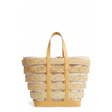 Women Cage Straw & Canvas Tote Comfortable and elegant Natural KYJSQPW