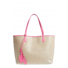 Women Erica Linen & Crocodile Tote Comfortable and elegant Pink VHPCIZV