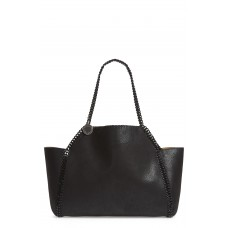 Women Falabella Small Reversible Faux Leather Tote Comfortable and elegant Black PDTKCVA