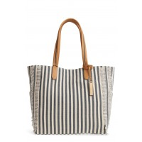 Women Iona Canvas Tote Comfortable and elegant Navy Natural Multi WFNJXUB