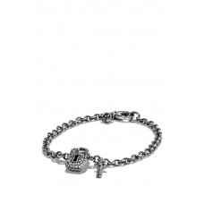Women 'Cable Collectibles' Lock and Key Charm Bracelet with Diamonds Comfortable and elegant Silver MDKDQCV