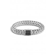 Women 'Classic Chain' Large Bracelet Comfortable and elegant Dnu Silver/ Black Sapphire TPAFEJU