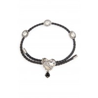 Women Heart Friendship Bracelet Comfortable and elegant Black/ Antique Silver WNPDCEQ