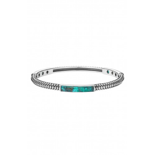 Women 'Maya' Caviar Stacking Bangle Comfortable and elegant Chrysocolla WXFJWKU