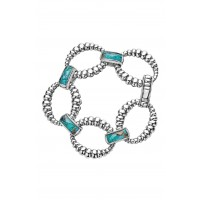 Women Maya Fluted Link Bracelet Comfortable and elegant Chrysocolla SYANAPT
