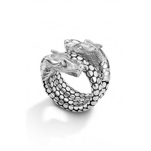 Women 'Legends' Dragon Coil Ring Comfortable and elegant Sterling Silver YRNXFJF