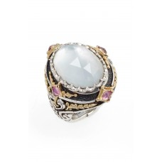 Women Nemesis Mother of Pearl Ring Comfortable and elegant Pearl/ Pink Tourmaline NKDSZOR