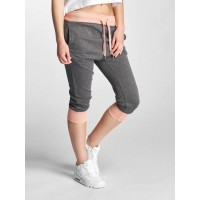 DEF Women Sweat Pant Patsy in grey gray / pink 50% cotton 50% polyester Drawstring outside of the elastic waistband provides a firm grip DFSP032ANTROS WLQDHGA