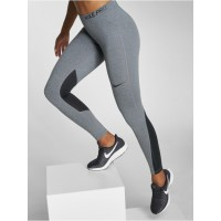 Nike Performance Women Legging/Tregging Pro Tights in grey elastic waistband with logo print provides excellent support 889561071 PGLCNBA