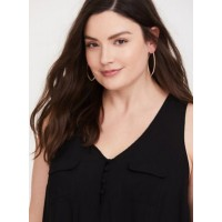 Challis fabric V-neck Women Black Button-Loop Challis Tank 11390739 RFQXNRE