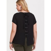 Georgette fabric Crew neck Women Abbey - Black Georgette Lace-Up Blouse 11390703 VEEOQCK