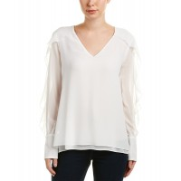 Women Bcbgmaxazria Gael Top Approximately 25.5in from shoulder to hem White 487018801 EBKEHNC