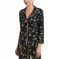 Women Ella Moss Floral Pajama Top Approximately 25.5in from shoulder to hem Black 483123901 JUFXXWM