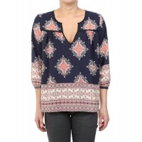 Women Glam Kenya Placket Top Approximately 24in from shoulder to hem Navy 452694601 UUGSSUY