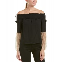 Women Rachel Zoe Wylie Silk Top Approximately 21in from shoulder to hem Black 445432001 WVDZUHG
