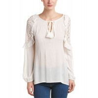 Women Tasselnlace Gauze Top Approximately 27in from shoulder to hem Khaki 440090701 BMPONFF