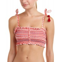 Women Red Carter Smocked Bandeau Top Sexy and elegant Red 513550001 UEONBEE
