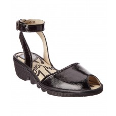 Women Fly London Popa Patent Wedge Sandal Sexy and elegant Black Style # 446524901 TJJBTQQ