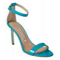 Women Manolo Blahnik Chaos 90 Patent Sandal Sexy and elegant Blue Style # 509962901 MEXWUOM