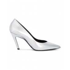 Women Balenciaga Women's Silver Leather Pumps Sexy and elegant Silver Style # 465416401 PDBOAUZ