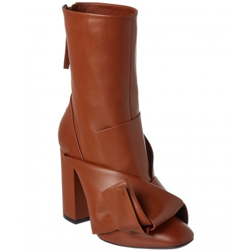Women N21 Knot Leather Boot Sexy and elegant Brown Style # 485933201 MMVVTWP