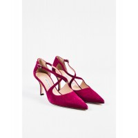 "Women Nib Raspberry Suede Cross Strap Pointed Toe ""Umice"" Pumps Sz 35 Sexy and elegant Purple Style # 510773801 ZLZKNGD"