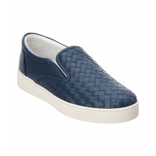 Women Bottega Veneta Dodger Intrecciato Leather Sneaker Sexy and elegant Blue Style # 509884501 IMHXNUE