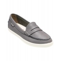 Women Cole Haan Women's Pinch Weekender Loafer Sexy and elegant Grey Leather/White Style # 502241112 TRGDLMY