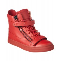 Women Giuseppe Zanotti London Buckle Leather High-Top Sneaker Sexy and elegant Red Style # 493664301 OPWCFSX