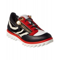 Women Giuseppe Zanotti Zebra Haircalf & Leather Sneaker Sexy and elegant Black Style # 511089501 SMEQNVE