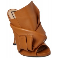 Women N21 Leather Bow Mule Sexy and elegant Brown Style # 470684401 MXIIWPV
