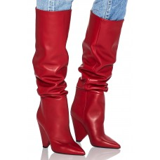 Women Saint Laurent Niki Thigh High Boots Hot Red Hergestellt in Italien IBXSYXC