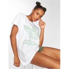 adidas originals Women T-Shirt Big Trefoil in white white / green 100% cotton coarse ribbed crew neck DH4428 SQNPRMM