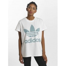 adidas originals Women T-Shirt Big Trefoil in white wide ribbed crew neck CE2437 JIUVRNT