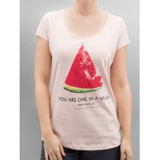 Authentic Style Women T-Shirt Summer Fruit in rose finely ribbed round neckline D1597Z01478A1 Rose QIEKNRP