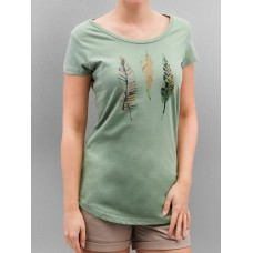 Authentic Style Women T-Shirt Urban Surface Feathers in green wide round neck D1235Z01436A1GRN ZGKHCZJ