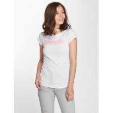 Bench Women T-Shirt Logo in white finely ribbed crew neck BLWG003383WH11185 MDGXUYJ
