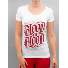 Blood In Blood Out Women T-Shirt Logo in white white / red 90% cotton 10% elastane Round neck with fine rib trim BC094W YUKGXGM