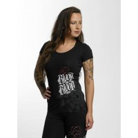 Blood In Blood Out Women T-Shirt Ranio Negro in black Black 90% cotton 10% elastane Further round neck cutout BC134B MIZIPXM